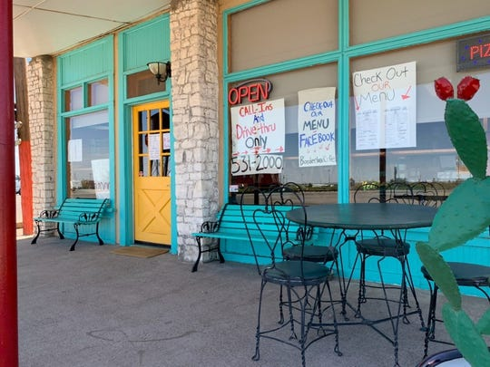The front entrance to the Borderland Café in Columbus, New Mexico, seen on Tuesday, April 21, 2020.