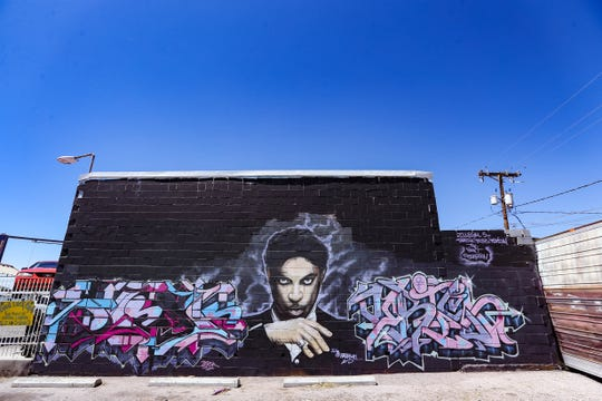 A mural of Prince is pictured in the parking lot of the Good Luck Cafe in Las Cruces on Tuesday, April 21, 2020.