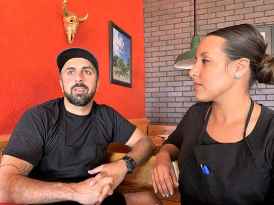 From left, Lawrence Haddad and Adriana Zizumbo, owners of the Borderland Café in Columbus, New Mexico, on Tuesday, April 21, 2020.