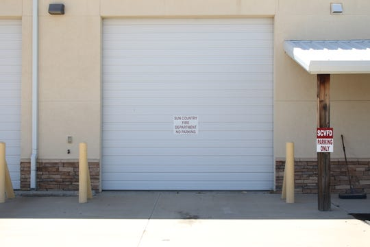 A sign at the Sun Country Volunteer Fire Department reminds people not to park in front of a garage door. The department is getting a new 4,000 gallon fire truck.