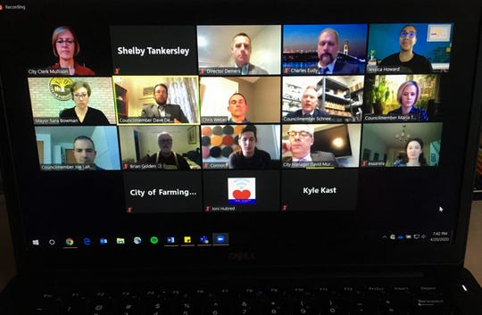 Farmington Council members, city department leaders and community members on a Zoom call April 20.