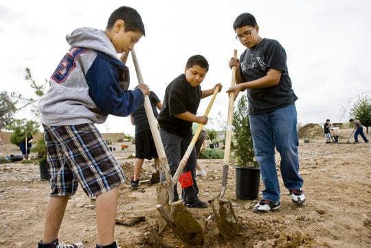 Sixth-graders Alberto Fernandez, left, Eddie Lopez and Martin Aguero work on digging a hole for one of 100 trees planted across the street from Santa Fe Elementary School in Peoria on Earth Day 2010.