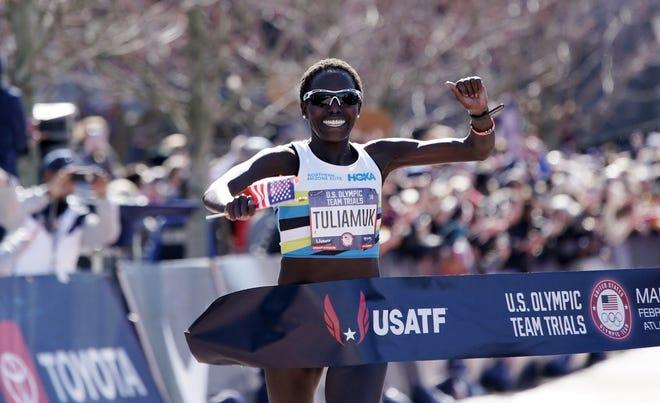 Aliphine Tuliamuk of Flagstaff was the women's winner at the U.S. Olympic Marathon Trials on Feb. 29 in Atlanta.