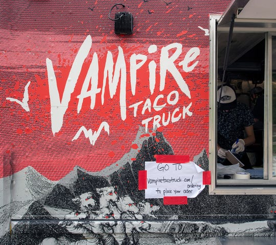 People order their food online at vampiretacotruck.com/ordering, pay online and meet the truck at a designated place in a neighborhood, where the final preparation is done and they get their takeout at a designated time.