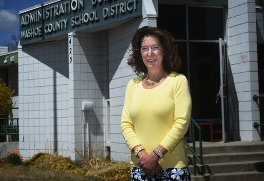 WCSD interim Superintendent Kristen McNeill poses for a portrait in front of the school district's administration building in Reno on April 21, 2020.