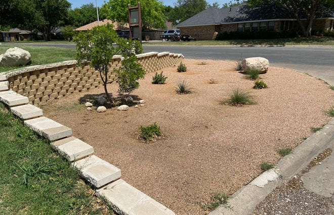 A landscaping project by Eagle Scout Will Foster, seen in this Tuesday, April 21, 2020 photo, helped the City of San Angelo solve a drainage and runoff problem at Meadowcreek Park.