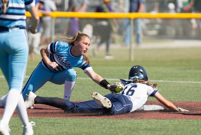 Airline's Caroline Easom tags a runner in a game last season. The senior was recently named to the LHSAA Composite All-Academic Team