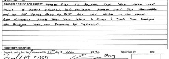 Pictured is the probable cause for arrest summary on page two of the arrest affidavit that charges De'Travion Tate with one count of attempted second-degree murder.