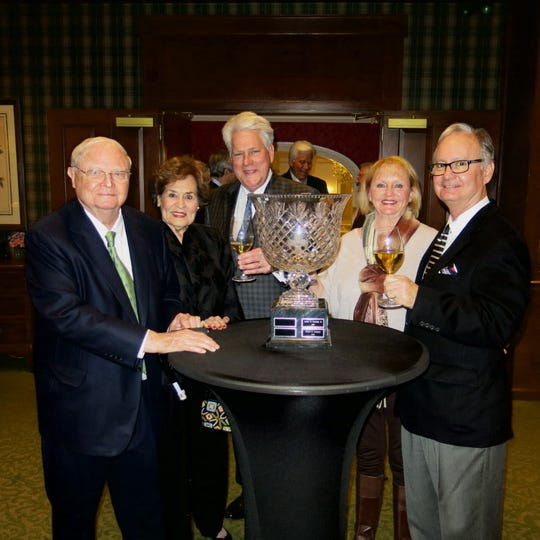 Shreveport Club Founder's Cup recipient, the late Horace Ladymon, Keitha Fox, Marshall Jones, and Ladymon's daughter Becky DeKay with husband  Roger DeKay at reception.