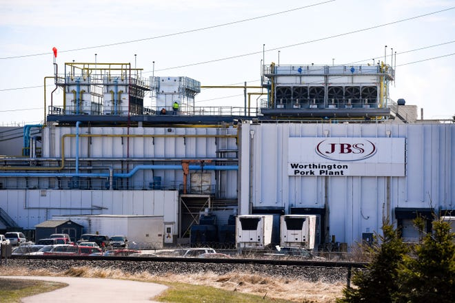 A JBS pork plant, a new hotspot for the coronavirus, is seen Tuesday, April 21, in Worthington, MN.