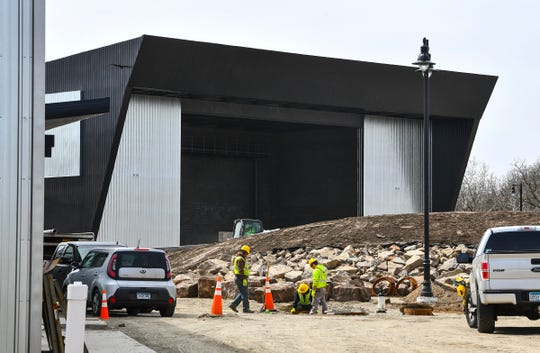Work continues on The Ledge amphitheater Tuesday, April 21, 2020, in Waite Park. Construction of the new facility is expected to be completed at the end of May.