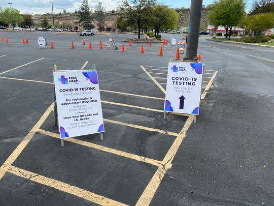 Signs posted outside of the COVID-19 coronavirus test site at the Red Cliff Mall in St. George.