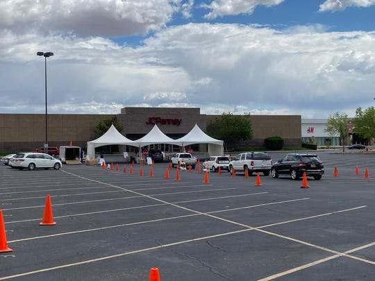 The drive-thru COVID-19 coronavirus testing site at the Red Cliffs Mall in St. George.