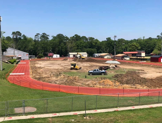 The early phase of construction to the field at Leon High School for the turf installation.