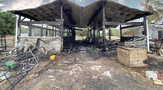 Dr.Karie Vander Werf's barn where 23 animals were killed from a fire that happened Sunday April 21, in Palm City.