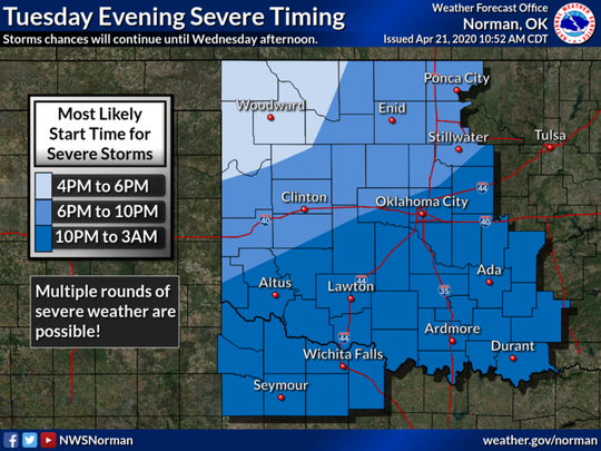 Multiple rounds of storms are expected behind the initial storms that enter the area.