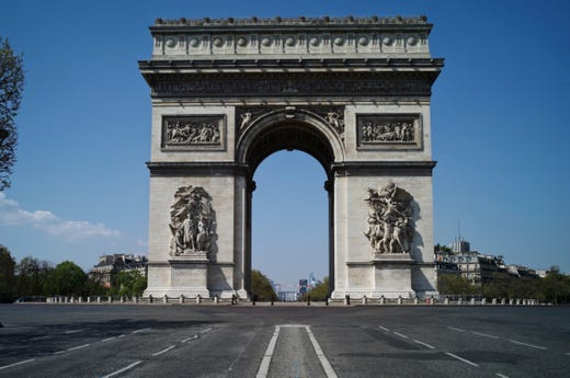 View of the deserted Arc of Triomphe during nationwide confinement measures to counter the Covid-19, in Paris, Thursday, April 9, 2020. The new coronavirus causes mild or moderate symptoms for most people, but for some, especially older adults and people with existing health problems, it can cause more severe illness or death.