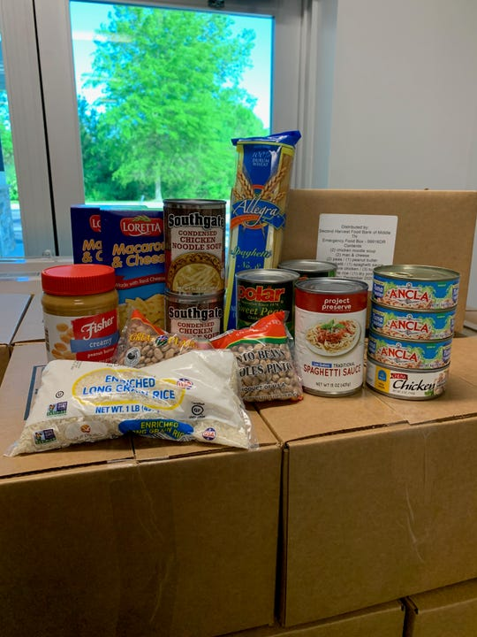 The contents of an emergency food box distributed by the Second Harvest Food Bank of Middle Tennessee in Nashville to people needing to self-quarantine during the COVID-19 emergency.