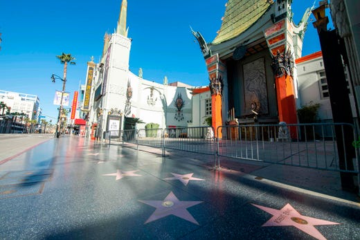 An empty Hollywood Blvd is pictured amid the coronavirus pandemic on April 15, 2020 in Los Angeles, Calif.