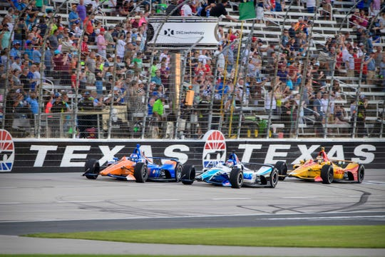 IndyCar drivers take the green flag at Texas Motor Speedway on June 8, 2019.