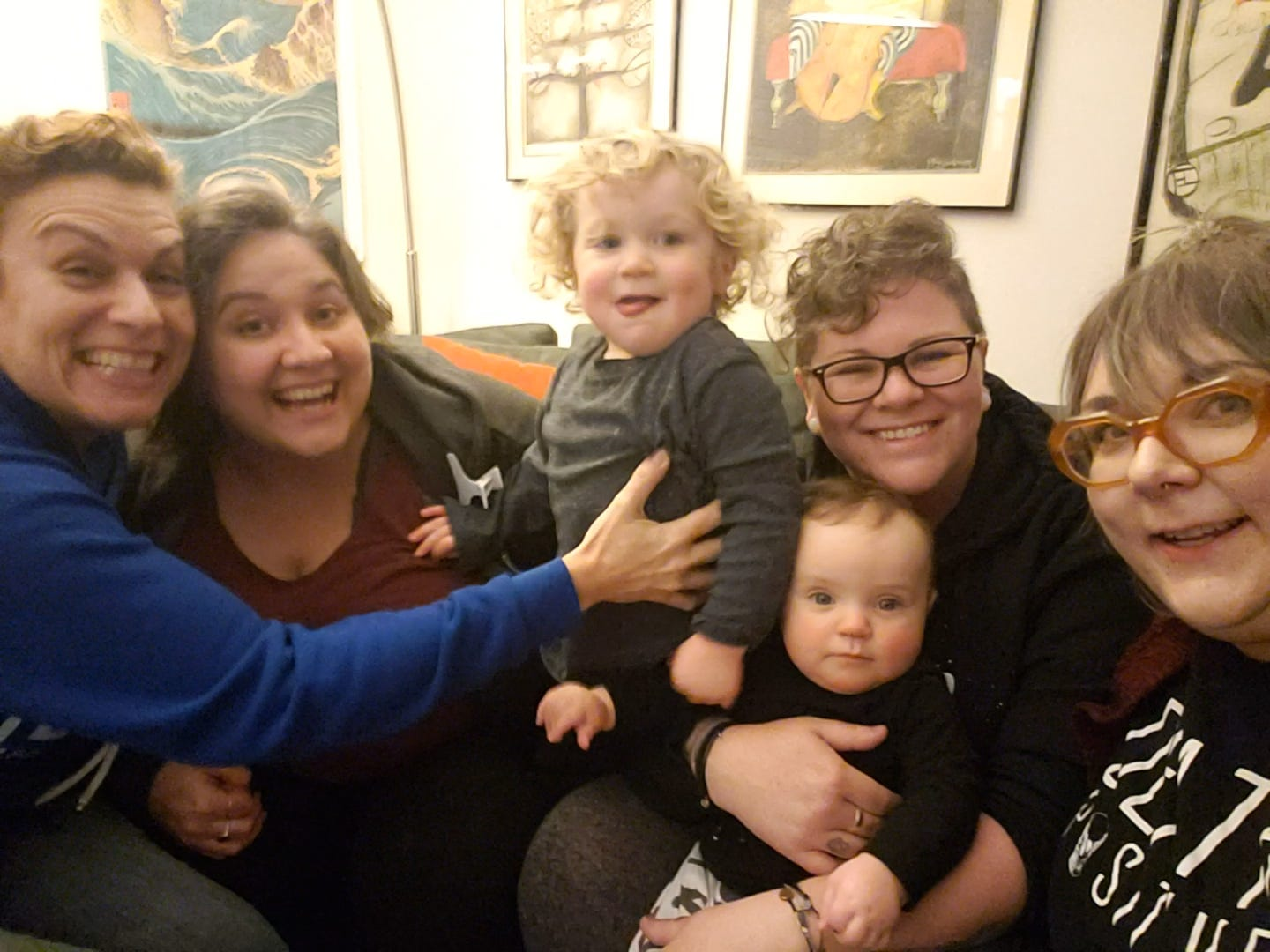 """""""I'm just grateful that without saying anything we knew that we needed to tighten up that bond right now to help each other get through things,"""" Jess said. Jess, far right, joins, from left, Leah Harris, Des's wife Felicidad Garcia, and Des. The kids, Gus and Theo, are Des and Fel's."""