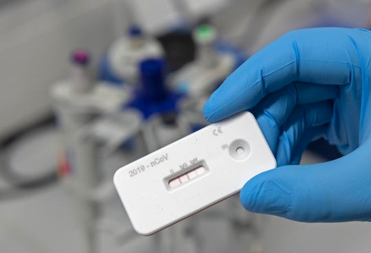 An antibody test for coronavirus in Jena, Germany, on April 3, 2020.