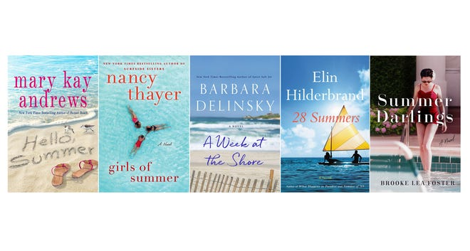 """This combination photo of cover images shows, from left, """"Hello Summer"""" by Mary Kay Andrews, """"Girls of Summer"""" by Nancy Thayer, """"A Week at the Shore"""" by Barbara Delinsky, """"28 Summers"""" by Elin Hilderbrand and """"Summer Darlings"""" by Brooke Lea Foster."""