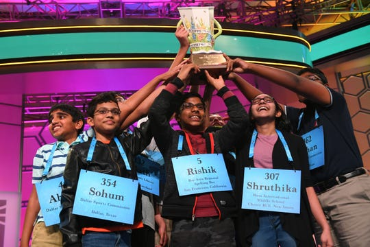 Rishik Gandhasri, Erin Howard, Saketh Sundar, Shruthika Padhy, Sohum Sukhatankar, Abhijay Kodali, Christopher Serrao and Rohan Raja are all announced as winners during the 2019 Scripps National Spelling Bee.