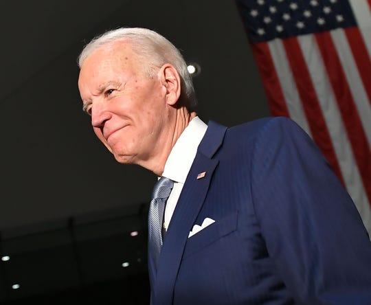 Democratic presidential candidate Joe Biden campaigns in Philadelphia on March 10, 2020