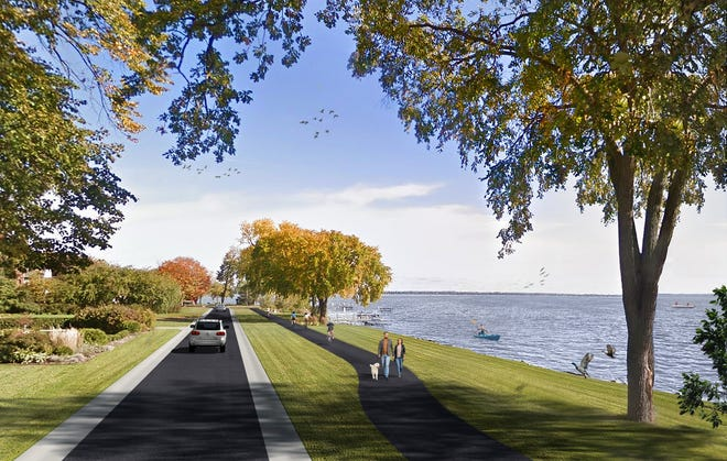 An architectural drawing shows how an off-street trail would function along Lakeshore Avenue in Neenah.