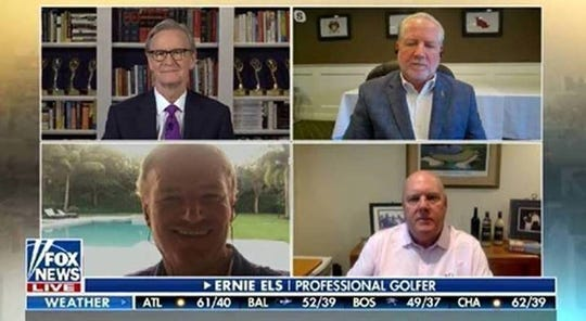 """A screengrab of Steve Doocy's interview with Spring Brook Country Club manager David Bachman, golfer Ernie Els and Els' manager, Rob Goulet, on """"FOX & Friends."""""""