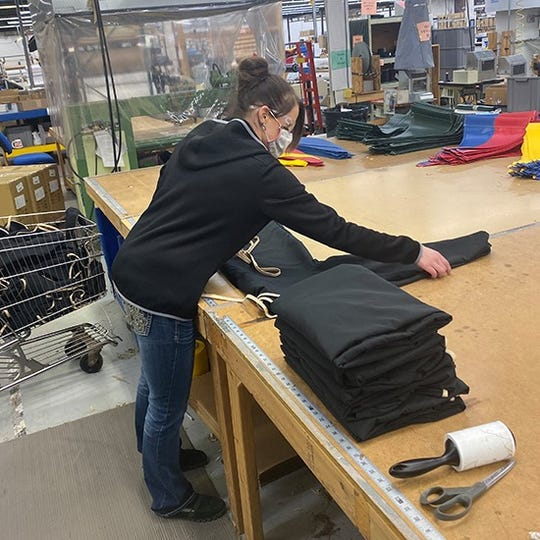 Stormy Kromer shipped several prototypes to Bronson Battle Creek to make sure the medical gowns were just right.