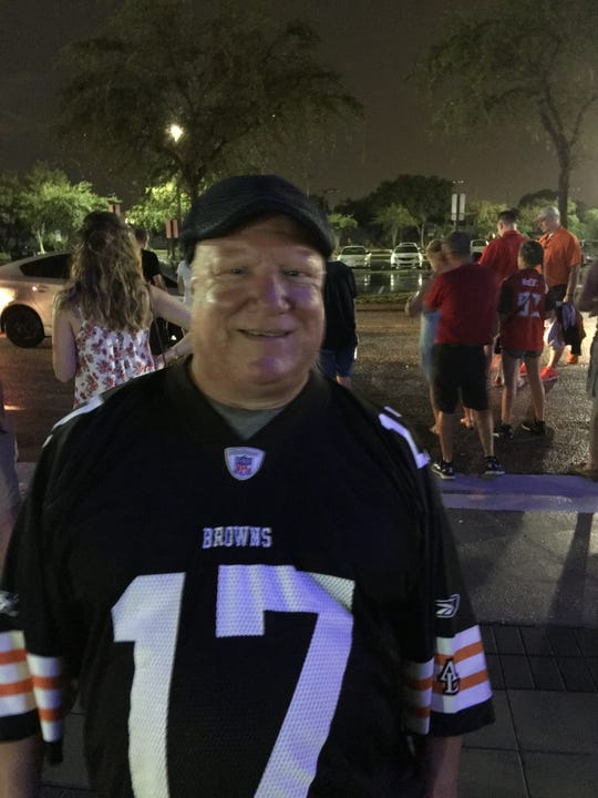 Michael Pellettiere, pictured at a recent Cleveland Browns versus Tampa Bay Buccaneers game in Tampa. He was a lifelong Browns fan.