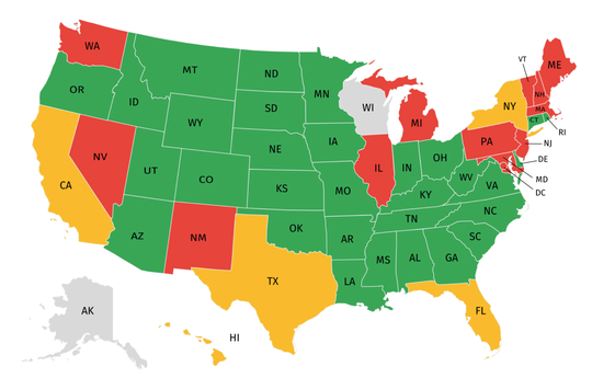 A map created by the National Golf Foundation shows states, as of April 21, where golf can and can't be played. Green states allow the sport, yellow states have localized restrictions, gray states are pending changes and red states have prohibited play.
