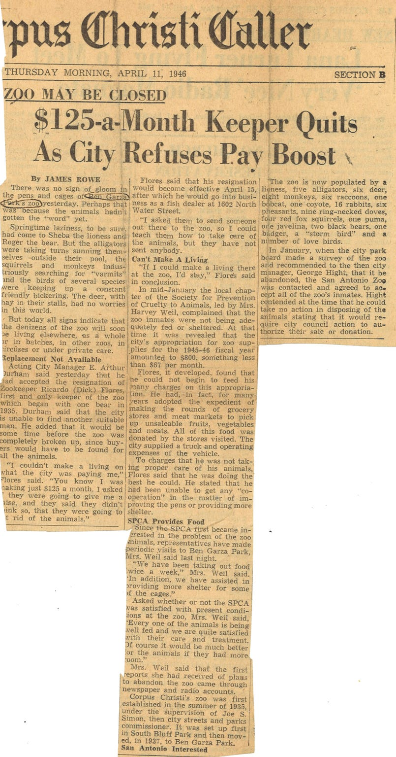 The Corpus Christi Caller reported on April 11, 1946 that the city refused to raise the pay of zookeeper Dick Flores. The city council abolished the zoo and the animals were sent to Brackenridge Park Zoo in San Antonio within the week.