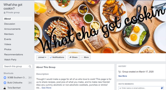 What'cha got cookin? is a Facebook group created by the local community to share tips, tricks and recipes related to cooking.