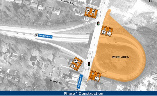 A graphic provided by Montgomery highlights the area on the easternmost ramps of Ronald Reagan Highway where drivers will see an impact from construction of a new roundabout over the next month to eight weeks starting April 27.