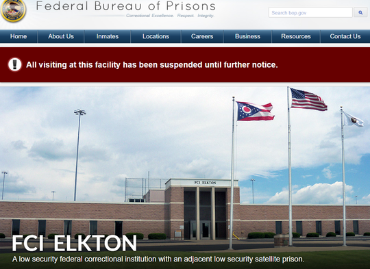 Website for Federal Correctional Institution Elkton in northeast Ohio.