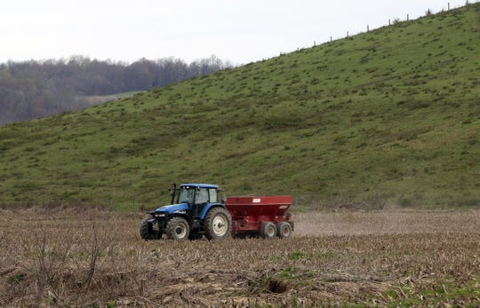 A farmer tends to his fields in southern Coshocton County.