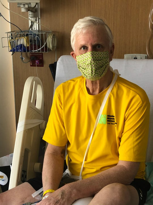 Larry Potter has his facemask on and is ready to be discharged from Mercy Medical Center in Cedar Rapids on April 13. The 65-year-old spent 15 days in the hospital, but survived a serious battle with COVID-19.