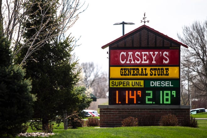 """This is a typical Casey's General Store sign, before """"General Store"""" vanishes."""