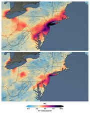 These maps made available by NASA show the average concentration of nitrogen dioxide in March 2015-19, top, and in March 2020 as people stay home against the COVID-19 coronavirus. NO2 is a noxious gas emitted by motor vehicles, power plants, and industrial facilities.