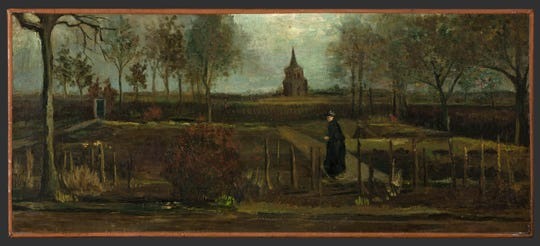 """Dutch master Vincent van Gogh's painting titled """"The Parsonage Garden at Nuenen in Spring"""" which was stolen from the Singer Museum in Laren, Netherlands."""