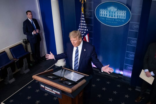 President Donald Trump speaks about the coronavirus in the James Brady Press Briefing Room of the White House, Tuesday, April 21, 2020, in Washington.