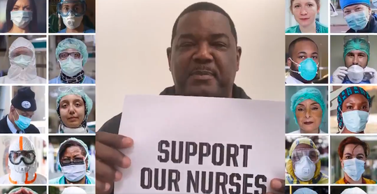 Joe Dumars in a screen shot from the Pistons' musical tribute to health-care workers.