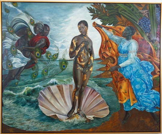 """Harmonia Rosales mimics Boticelli's """"Birth of Venus"""" with her """"Birth of Oshun,"""" at the Wright Museum."""