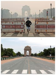 This combination of Monday, Oct. 28, 2019, top, and Monday, April 20, 2020, shows India Gate in New Delhi.