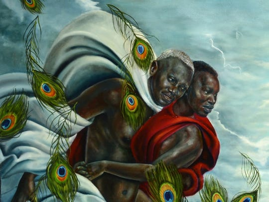 """Detail from Harmonia Rosales' """"Birth of Oshun,"""" which revises Boticelli's classic """"Birth of Venus"""" as African myth."""