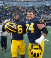 Former Michigan players Josh Uche (6) and Ben Bredeson (74) could be Day 2 selections in this weekend's NFL Draft.