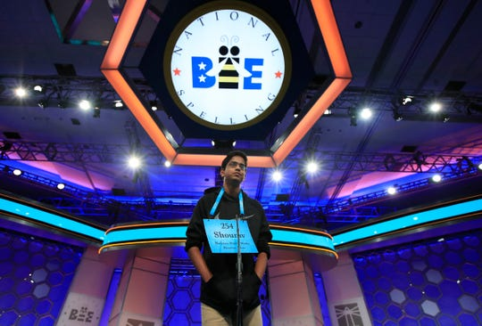 Shourav Dasari, 14, from Spring, Texas, correctly spells his word during the finals of the 90th Scripps National Spelling Bee, in Oxon Hill, Md. on June 1, 2017.